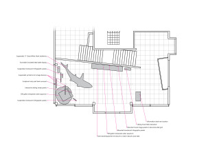 A plan view of the space